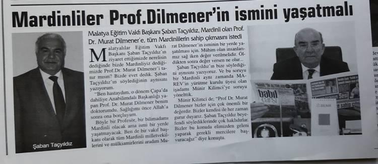 Haberimiz Ses Getirdi Prof. Dr. MURAT DİLMENER İsmi Yaşatıyor:  GURURLUYUZ VE MUTLUYUZ